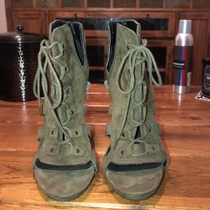 String lace up heels. OLIVE & WORN ONE TIME!